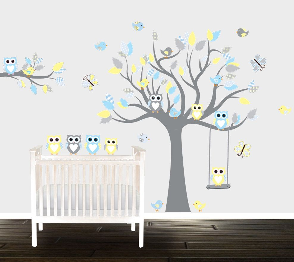 Boys Grey Yellow Owl Wall Decals Nursery Wall Stickers