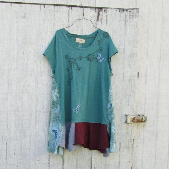 large  xxlarge / Upcycled clothing / Funky Tshirt by CreoleSha, $77.99