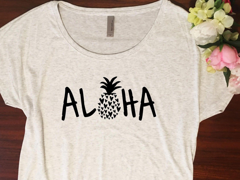 d377a6a5 Aloha shirt // Dolman style shirt, Gift for her, Pineapple shirt, Womens  shirt, Pineapple tshirt, Beach shirt, Women graphic tshirt beach by ...