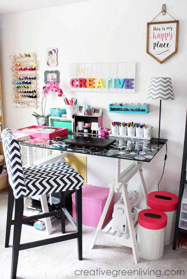 Craft Room / Home Office Tour & Makeover Reveal #craftroomideas