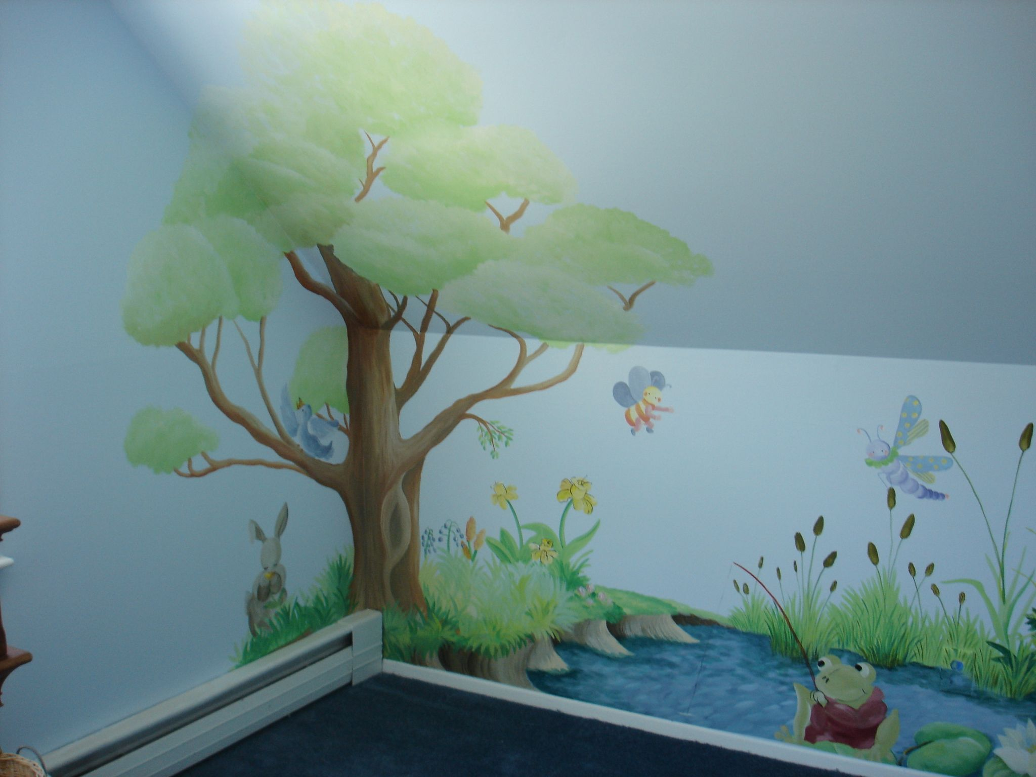 Hand painted tree wall mural dreamwalldesigns custom for Custom mural painting