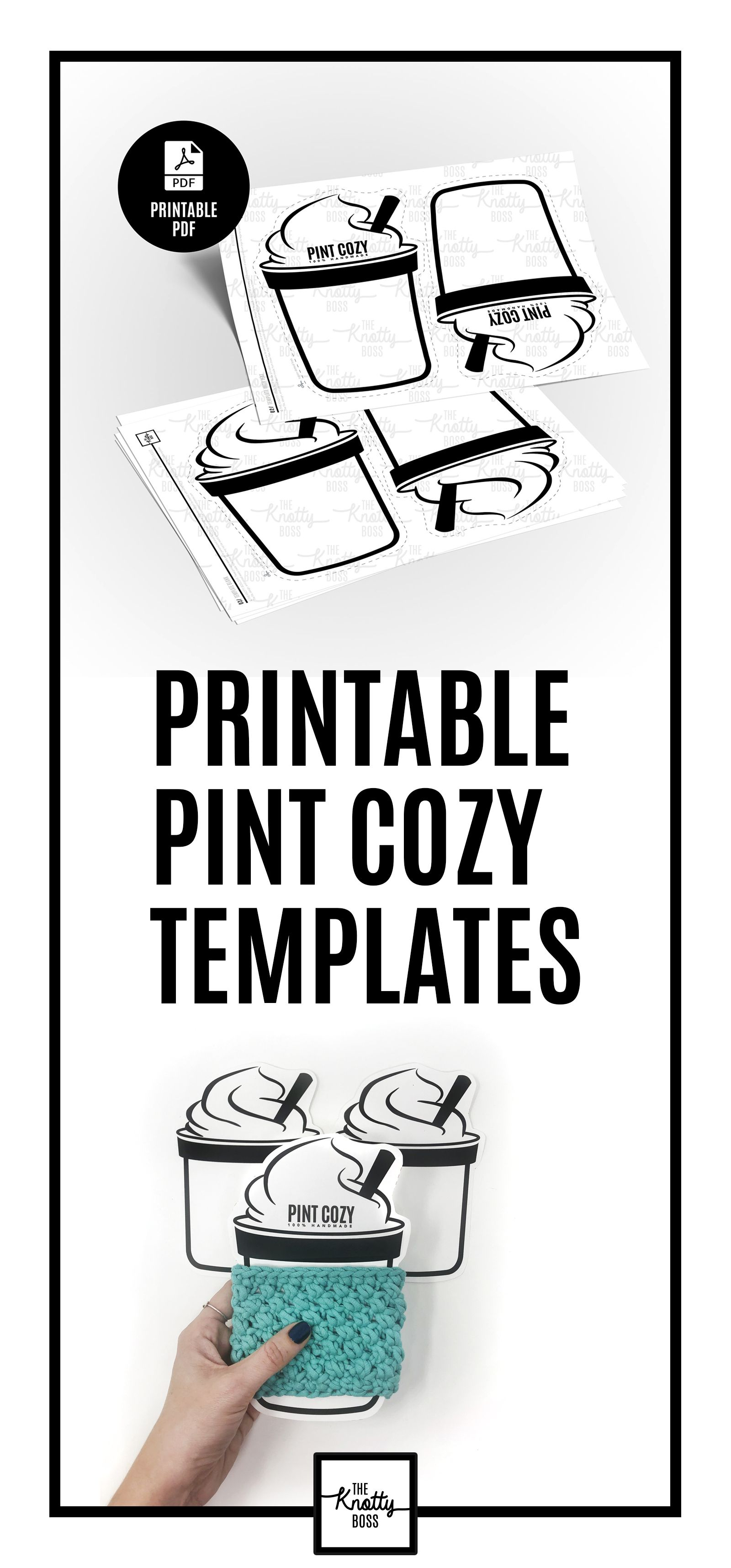 Printable Ice Cream Pint Cozy Template Downloadable Pdf Etsy In 2021 Templates Printable Free Printables Unique Items Products