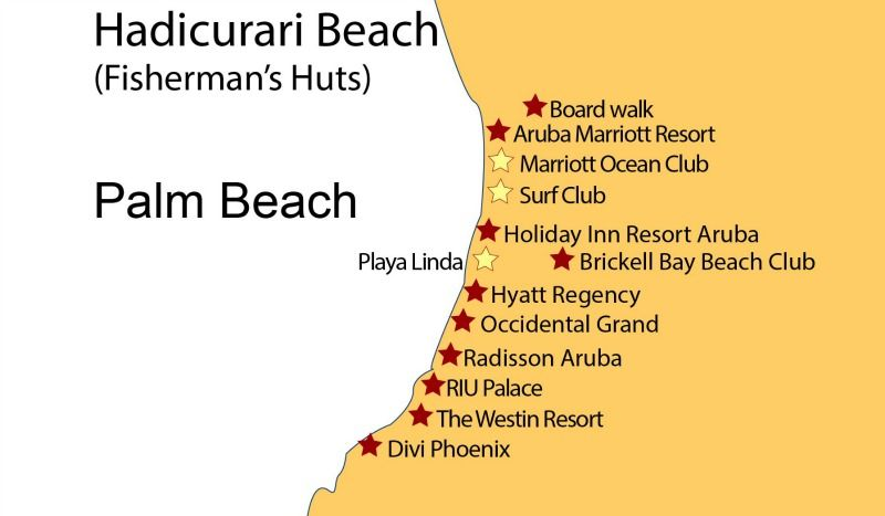 Map of Palm Beach High Rise Aruba Hotels Aruba Hotel Map New