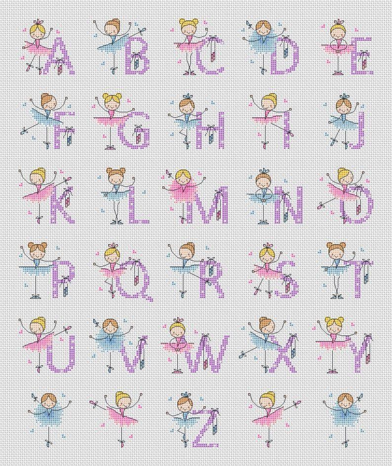 Alphabet Ballerina / PDF Cross Stitch Pattern / Lucie Heaton | Etsy