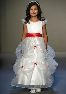 Beautiful White Organza Satin Boatneck Bowknot Cascading Ruffle Flower Girl Dresses Court Ball Gown