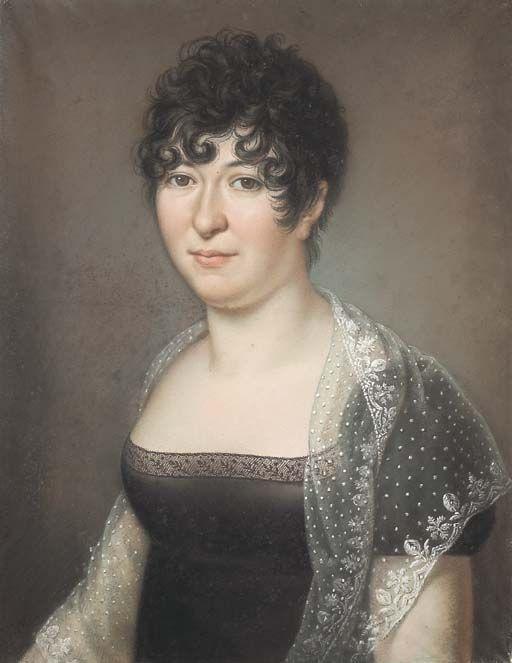 Baptiste Gagnereaux, Portrait of a lady wearing a mantilla