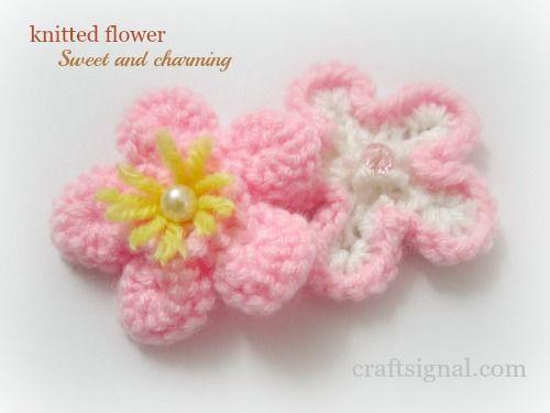 Knitted Flower Maglia Pinterest Knit Flowers Flower Patterns