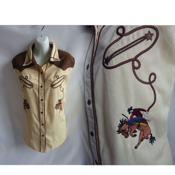 Vintage 50s Blouse size XL Beige Horse Country Western Shirt Rodeo Bucking Bronco Prairie 60s
