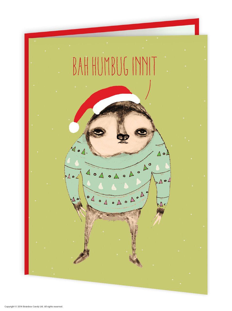 brainboxcandy.com - Sloth Christmas Card, £2.50 (http://www.brainboxcandy.com/sloth-christmas-card/)