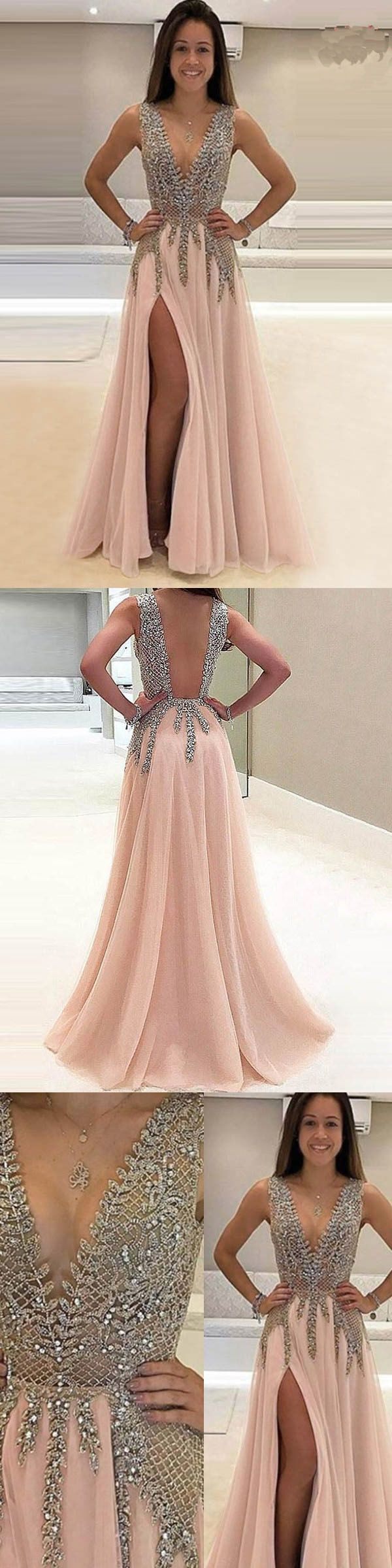 Hot sale nice prom dresses pink deep vneck sweep train sleeveless