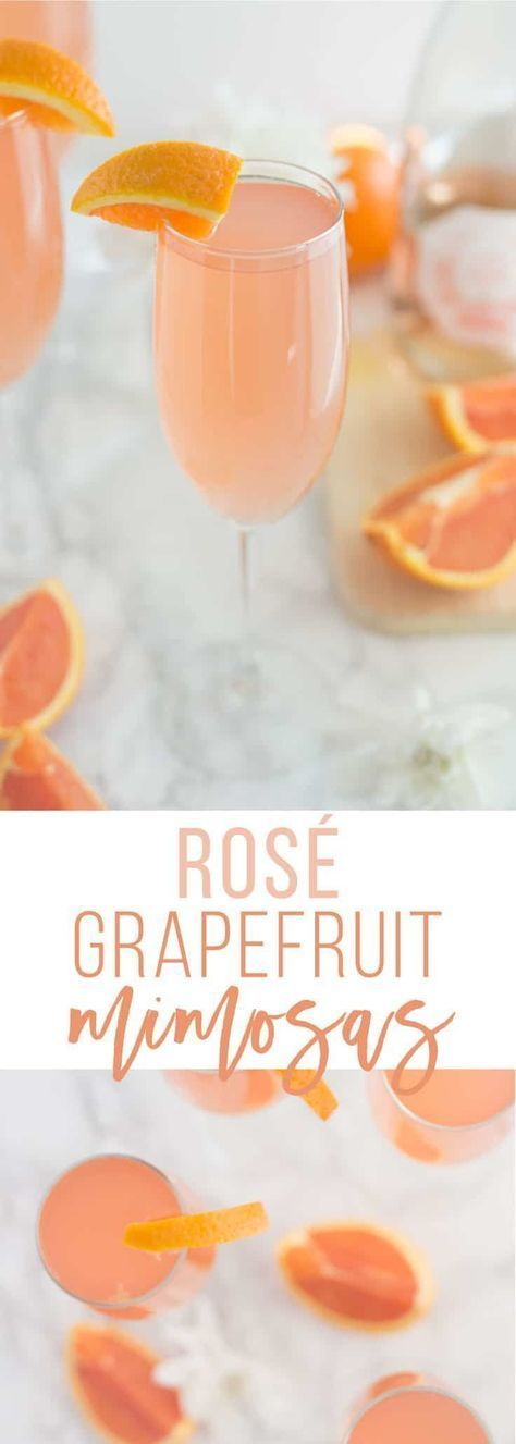 Rosé Grapefruit Mimosa -- This delicious blush drink is a creative spin on the traditional mimosa recipe. Rosé champagne mixed with grapefruit juice is the perfect flavor combo. Make this rosé grapefruit mimosa recipe for your next brunch! - mindfulavocado Grapefruit Mimosa -- This delicious blush drink is a creative spin on the traditional mimosa recipe. Rosé champagne mixed with grapefruit juice is the perfect flavor combo. Make this rosé grapefruit mimosa recipe for your next brunch! - mindfulavocado