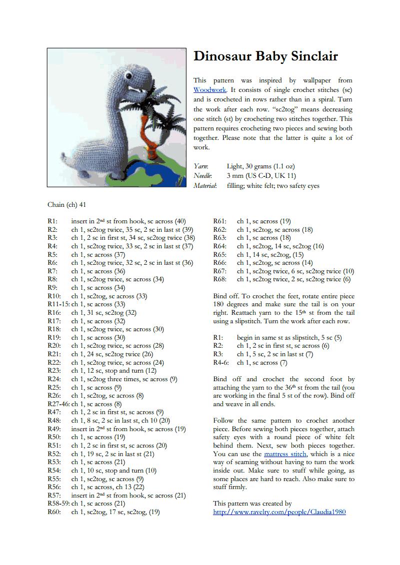 Dinosaur Baby Sinclair.pdf. FREE PATTERN 9/14. | amigurumi ...