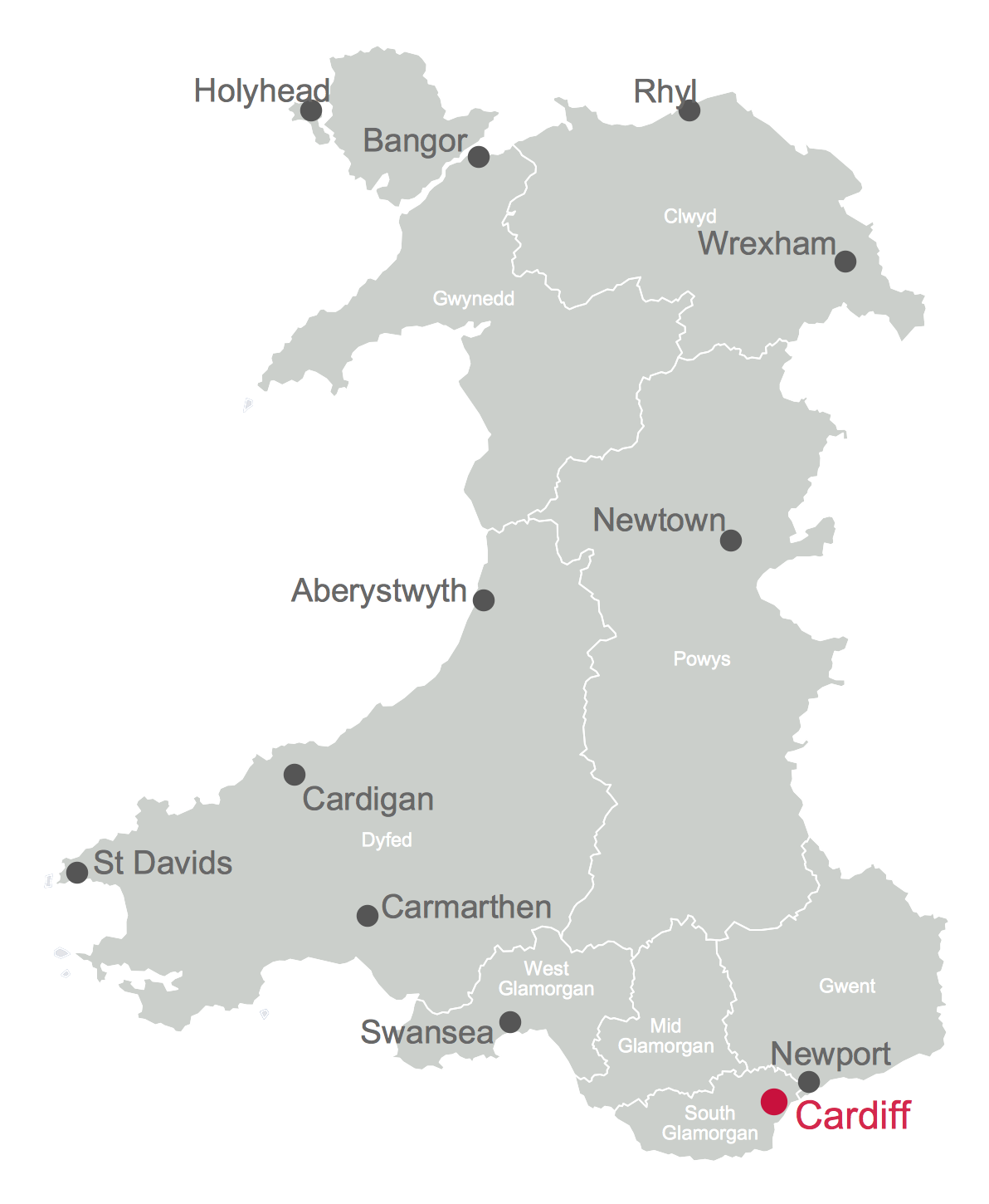 Example 3 Map of Cities and Towns in Wales The Map of UK solution