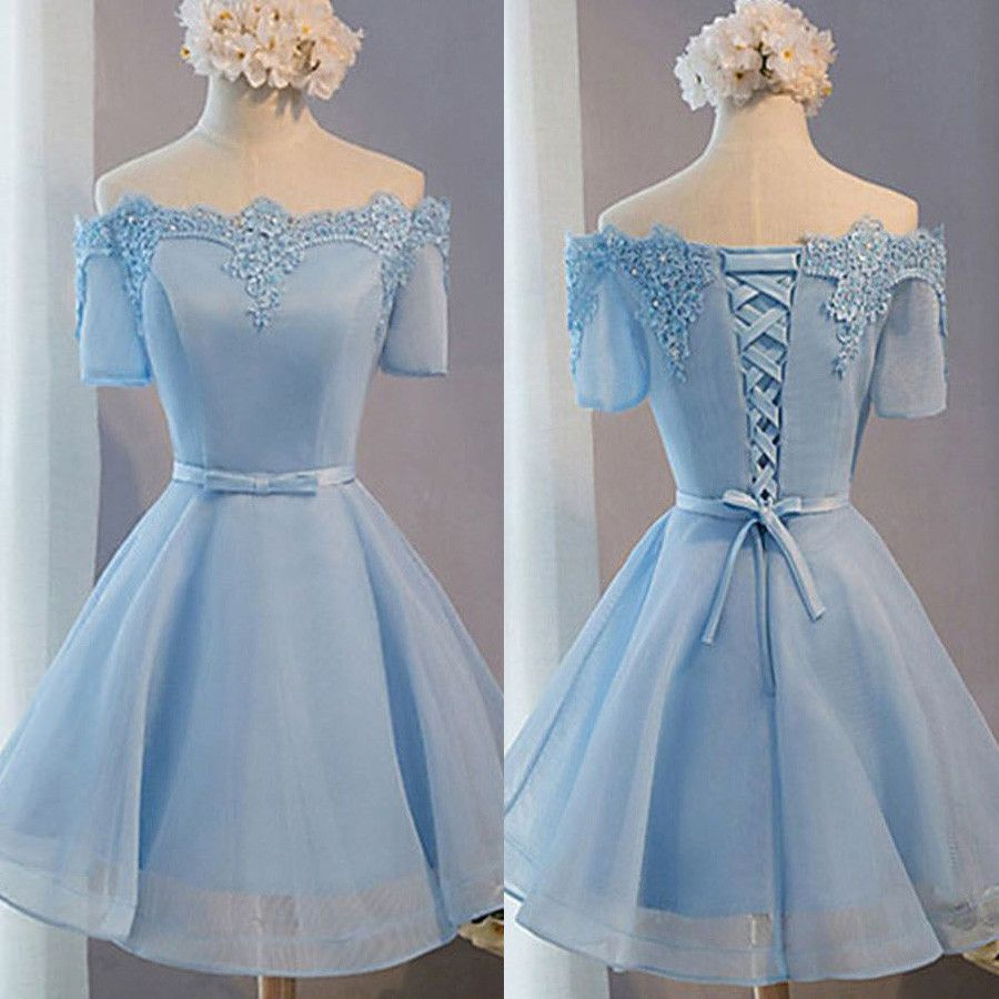 Light blue off shoulder with short sleeve lace lovely homecoming