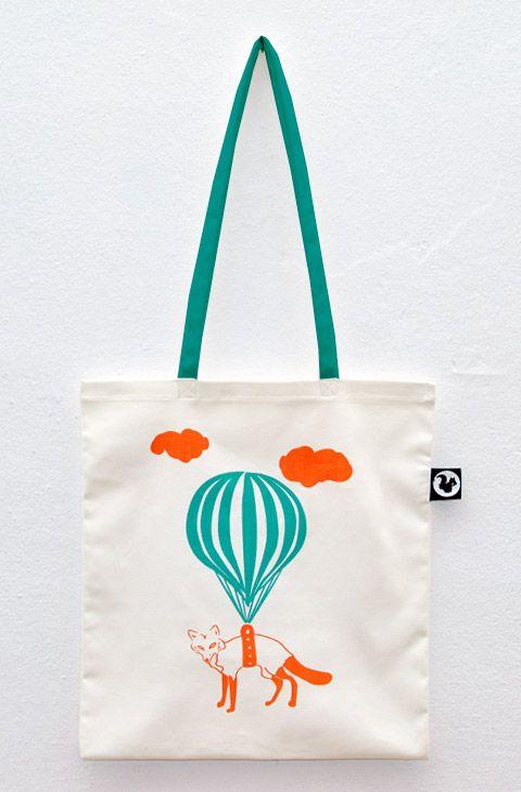 FLYING FOX #totebag #fox #hot-air balloon