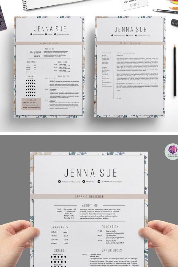 Floral 1 Page Resume Resume Design Creative Resume Design Free Resume Design Template