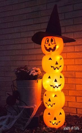 Glowing Plastic Jack O' Lantern Totem | DIY Halloween Decoration