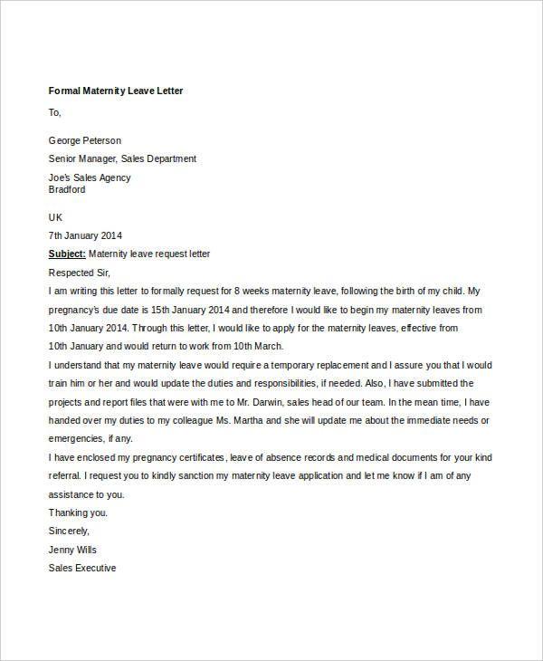 formal letter sample template free word pdf documents download - leave letter samples