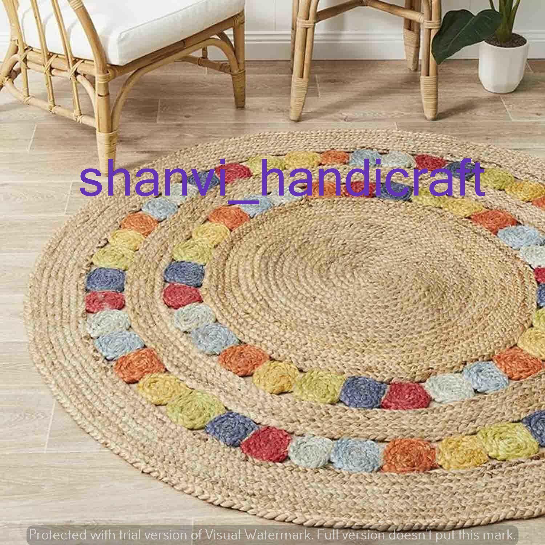 Indian Beautiful Floor Rug Braided Rag Rug Round Floor Rug Etsy In 2020 Jute Round Rug Braided Rag Rugs Solid Area Rugs