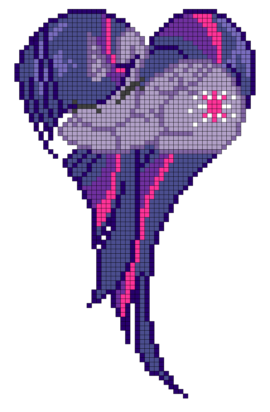 MLP Princess Twilight Sparkle heart perler bead pattern by