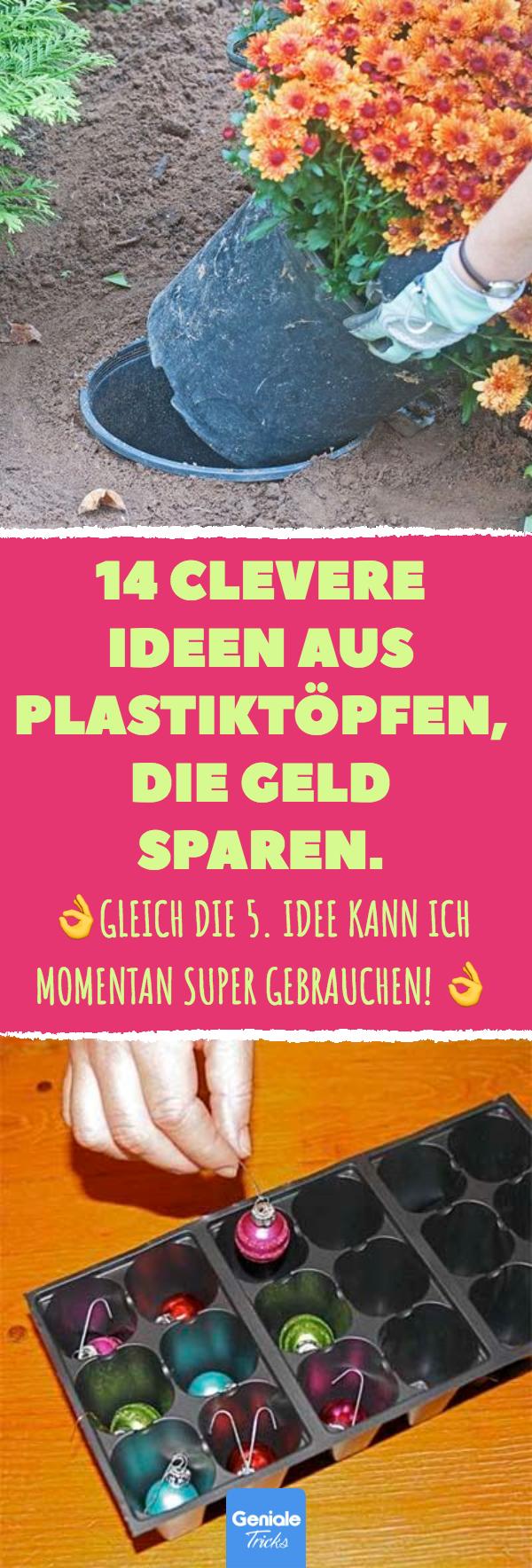 14 clevere Ideen aus Plastiktöpfen, die Geld sparen. 14 Tricks und Ideen, wie du Pflanztöpfe aus Plastik sinnvoll wiederverwenden kannst. #Pflanztöpfe #Upcycling #Plastiktöpfe #Blumentöpfe #Ordnung #DIY #Plastik #Müll #Garten #Ideen #Tricks #gartenupcycling