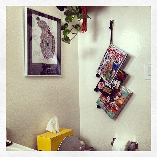 Hanging bathroom reading materials!