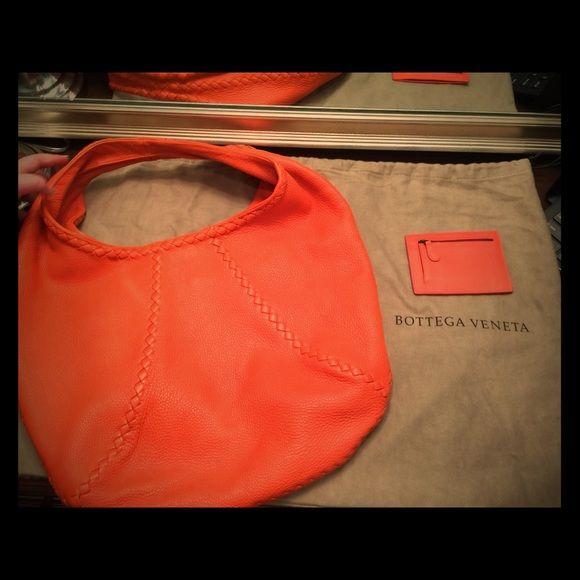 95f74c504a9 Bottega Veneta Cervo Large Hobo Bag Tangerine   Bottega Veneta hobo with cervo  leather and iconic