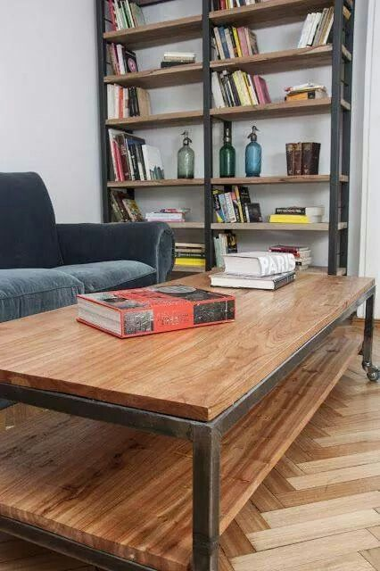 17b19d482e1 10 Surprising Cool Tips  Industrial Farmhouse Mantle industrial home loft.   ) Mesas Madera Y Hierro ...