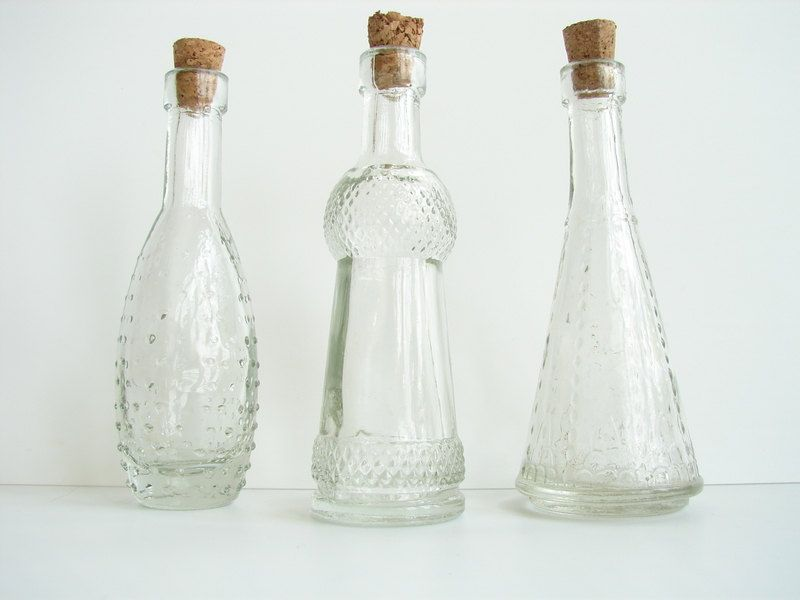 "Decorative Clear Glass Bottles Entrancing Decorative Clear Glass Bottles With Corks 5"" Tall Set Of 3 Design Decoration"