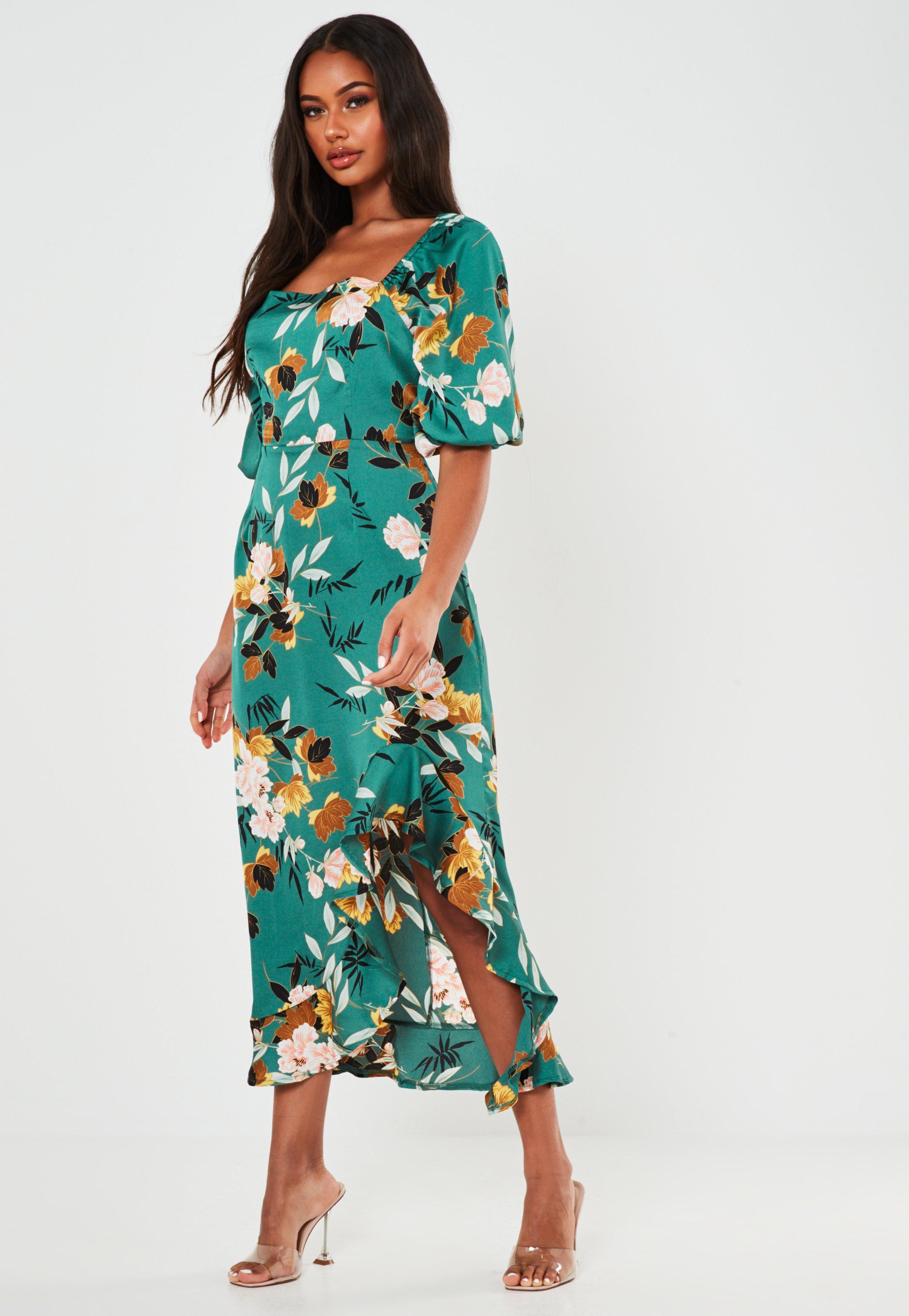 Green Floral Print Ruffle Hem Midi Dress Sponsored Print Affiliate Floral Green Midi Short Sleeve Dress Womens Dresses Trending Dresses [ 4200 x 2900 Pixel ]