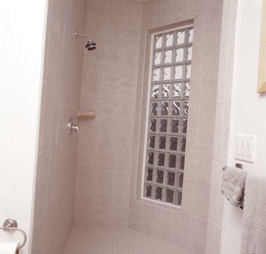 Prefabricated Vinyl Frame Glass Block Exterior Bathroom Window using 8  x  8  Decora Pattern. Prefabricated Vinyl Frame Glass Block Exterior Bathroom Window