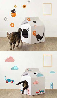'Caja de leche', casa de cartón blanca para gatos • Milk cardboard cat home, by Moissue