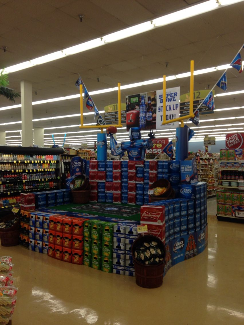 creative super bowl theme beer display rjcm beer