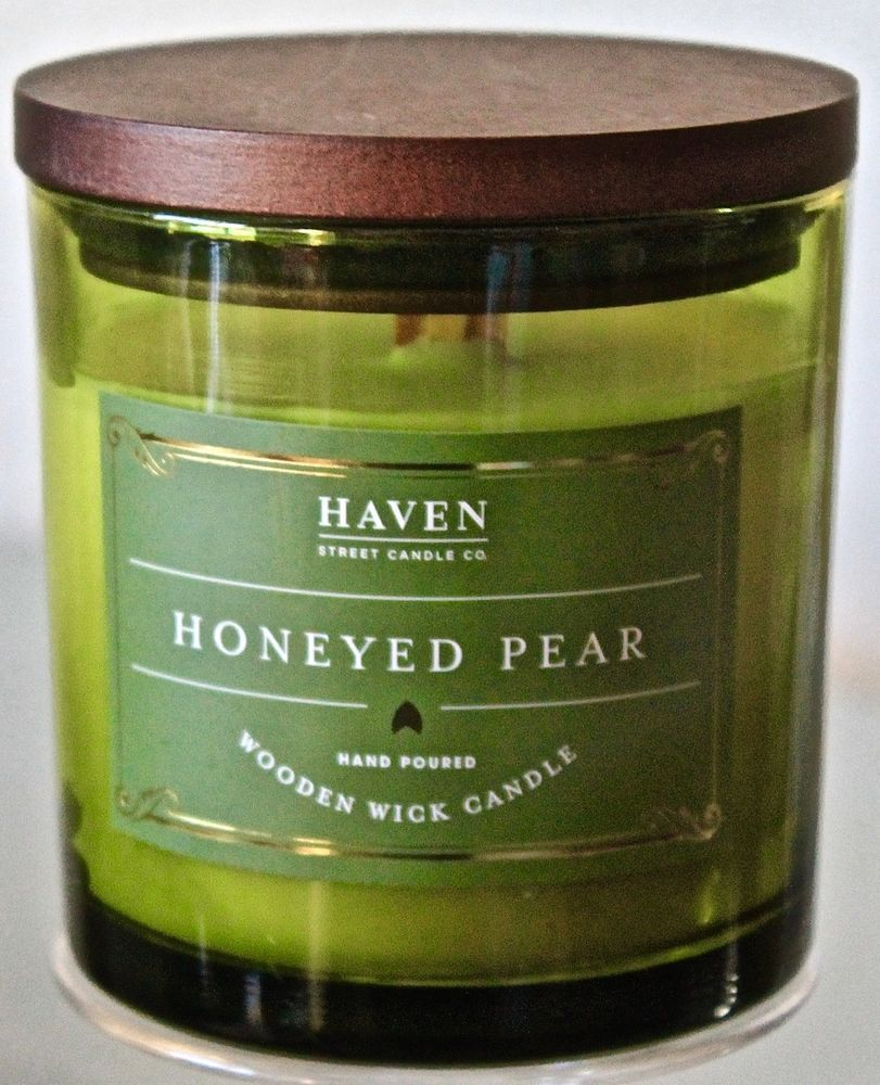 HAVEN STREET CANDLE CO HONEYED PEAR WOODEN WICK SOY WAX ...