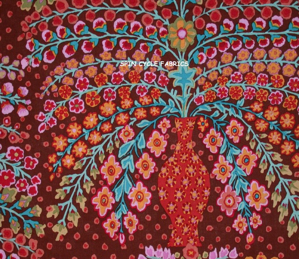1 Fat Qtr KAFFE FASSETT PERSIAN VASE GP100 BROWN Flower Westminster Quilting