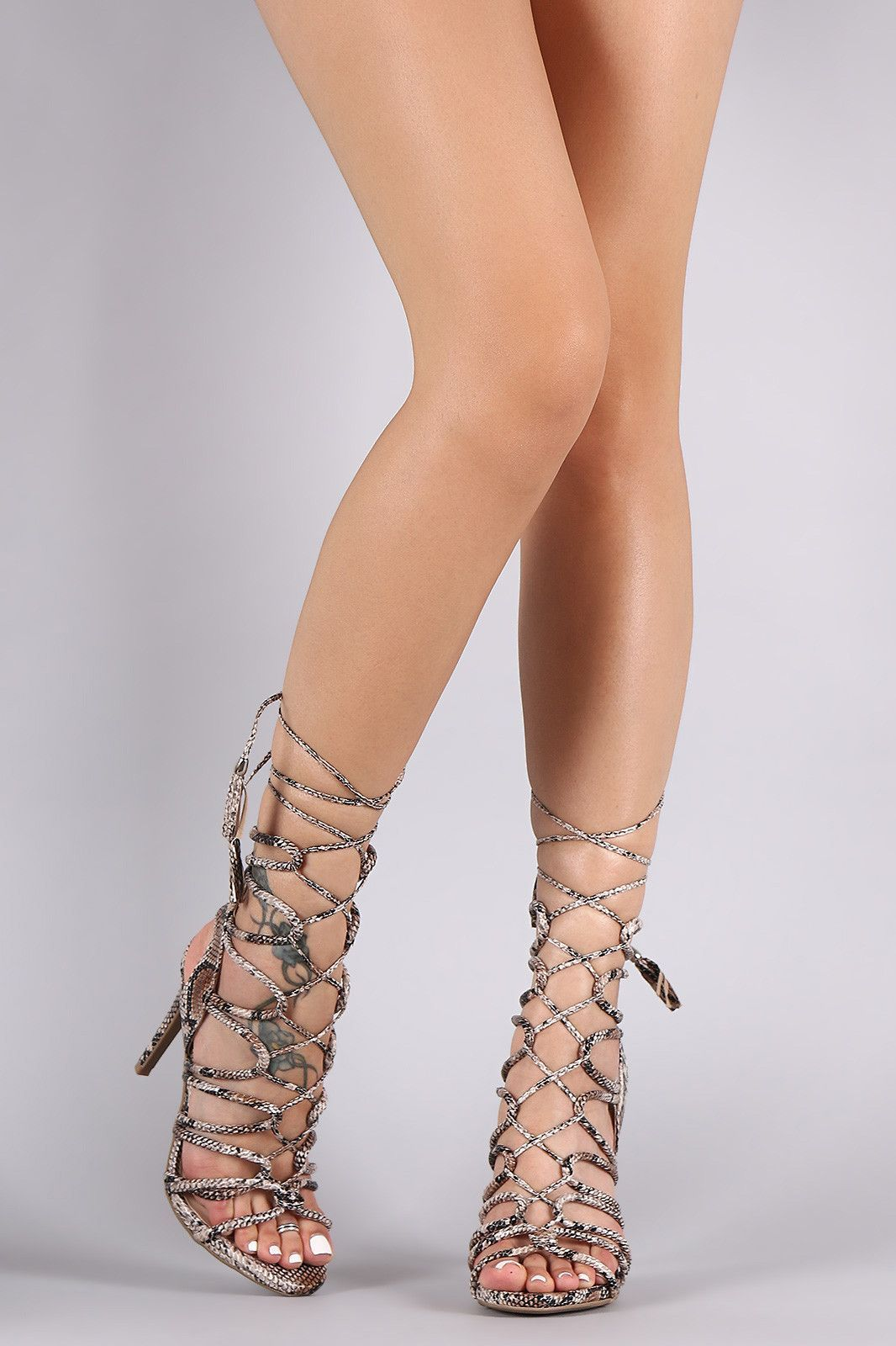 Haute Nude Square Toe Strappy Lace Up Heels   Public
