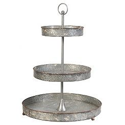 3 Tier Galvanized Metal Stand Tiered Stand Tiered Server Metal Trays