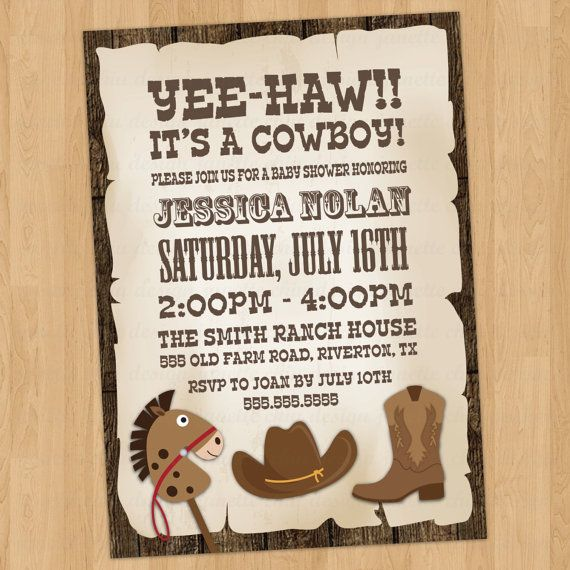 Cowboy Baby Shower Invitation Digital Printable or Printed ANY – Cowboy Party Invitation Wording