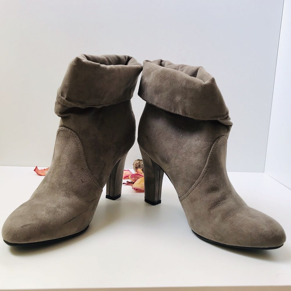 fb2476c13580 NWOB EXPRESS TAUPE FAUX SUEDE SOCK HEEL BOOTIE sz 7  fashion  clothing   shoes