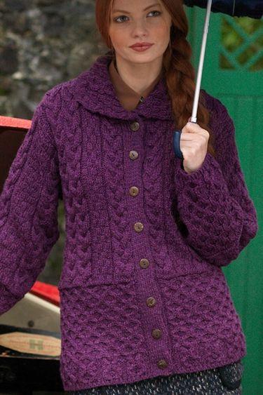 Carraig Donn Irish Aran Wool Sweater Womens Cable Knit Pullover Keyhole Crew b0c04f4ce