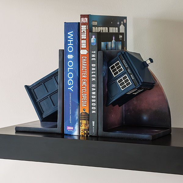 Doctor Who Bookends Adds The Tardis To Your Bookshelf Geek Decor Tardis Geek Decor Doctor Who
