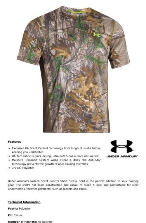 Shirts and Tops 177874: Nwt Mens Under Armour Ua Scent Control Short Sleeve Xl Realtree Ap Xtra BUY IT NOW ONLY: $30.0