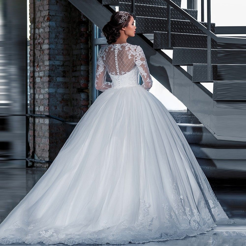 Long Sleeve Appliques Lace Princess Ball Gown Wedding Dress | Ball ...