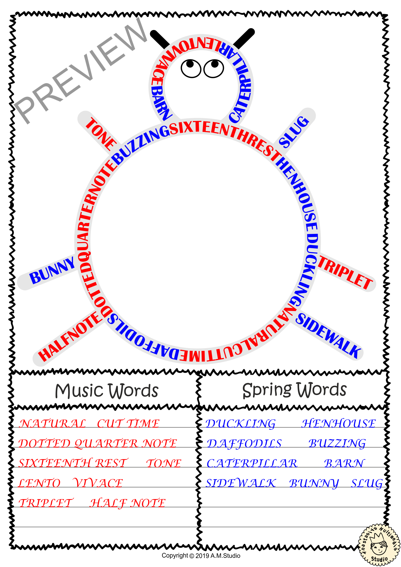 Music Word Search Worksheets For Spring