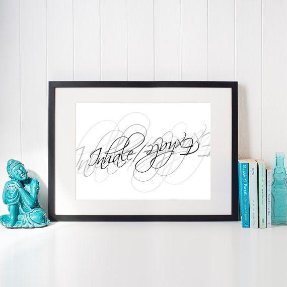 Bathroom Zen Art breathe calligraphy printable inhale exhale word art meditation