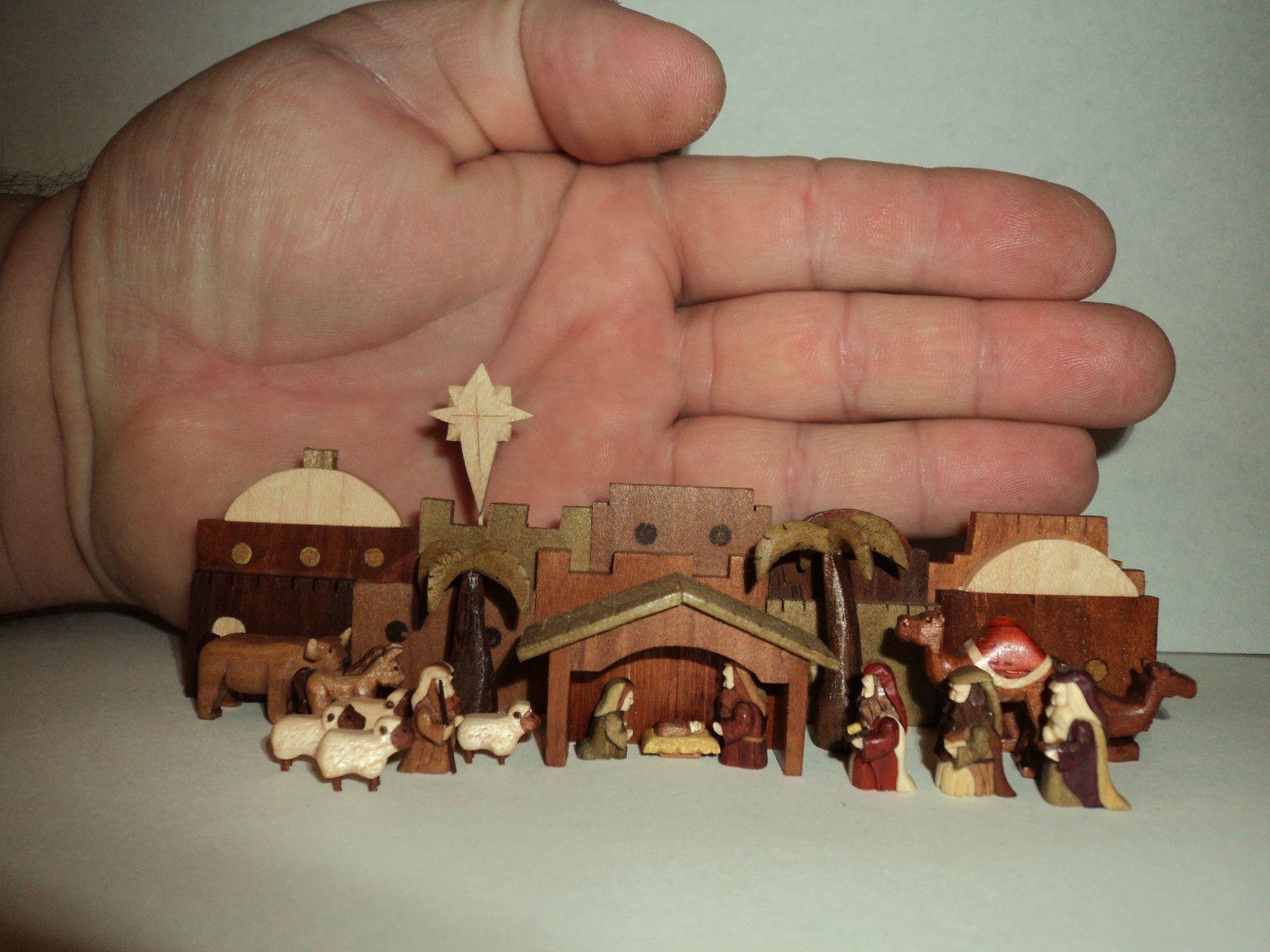Artist Miniature Nativity Set Hand Carved Wooden Micro Original