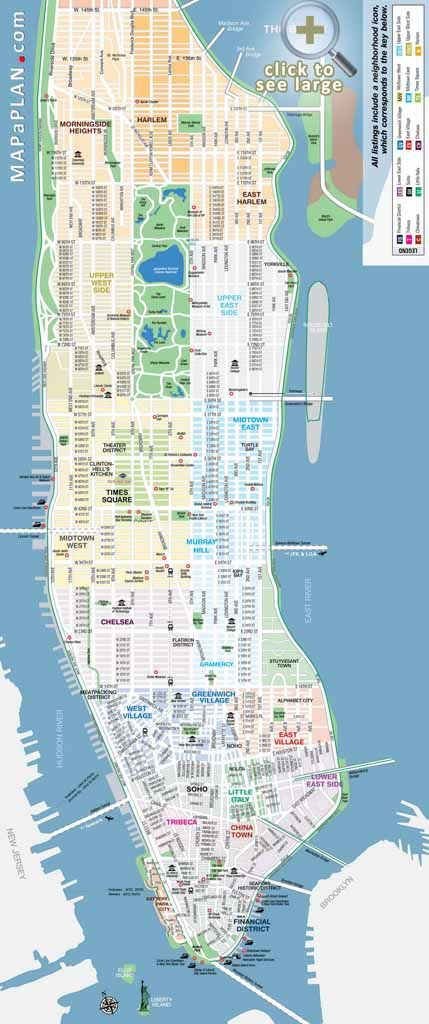 manhattan streets and avenues must see places new york top tourist attractions map