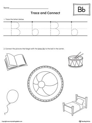 trace letter b and connect pictures worksheet alphabet worksheets alphabet worksheets. Black Bedroom Furniture Sets. Home Design Ideas