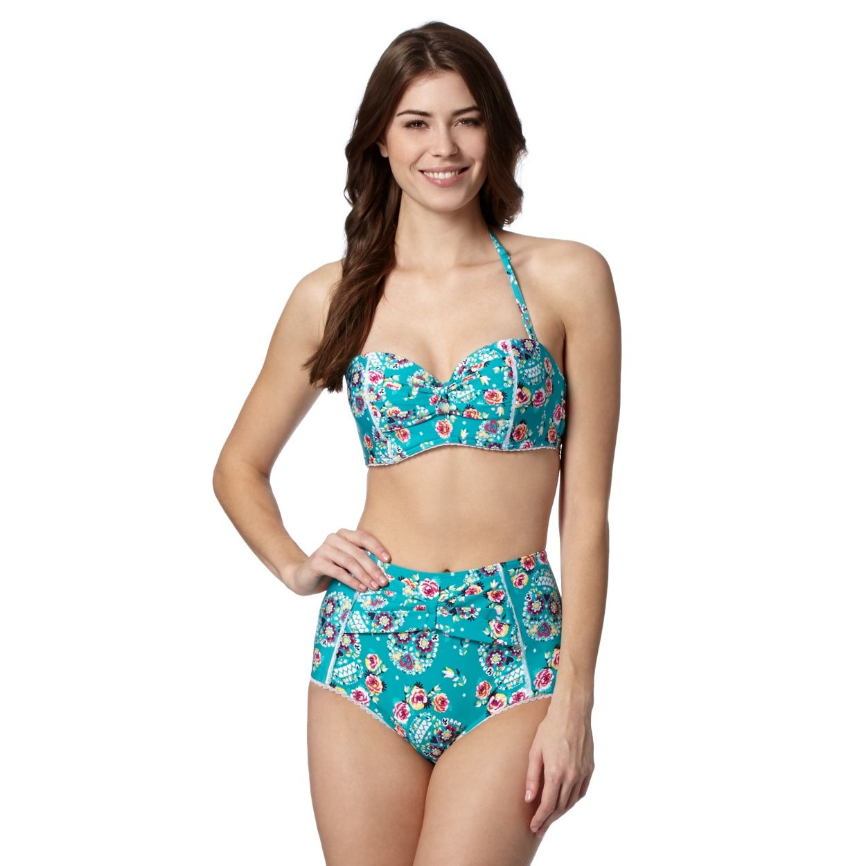 aa5f825de55 Floozie by Frost French Green rose and heart printed high waisted bikini  bottoms- at Debenhams.ie
