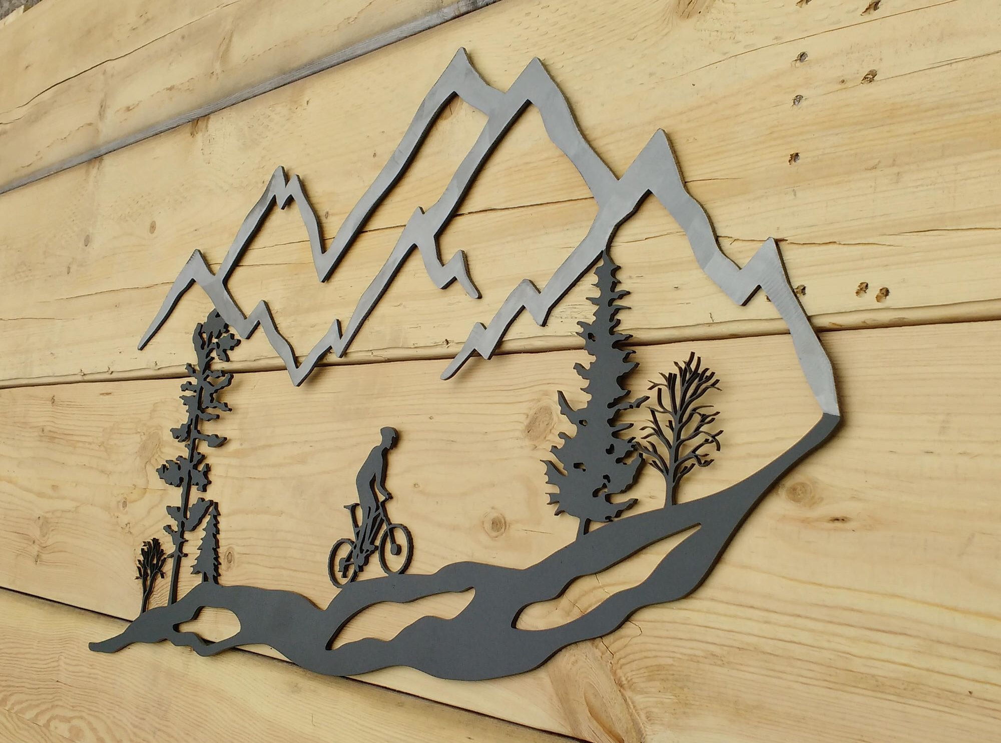 Metal Wall Art, Mountain, Bike, Trees, Mountain Bike, MTB | Metal ...
